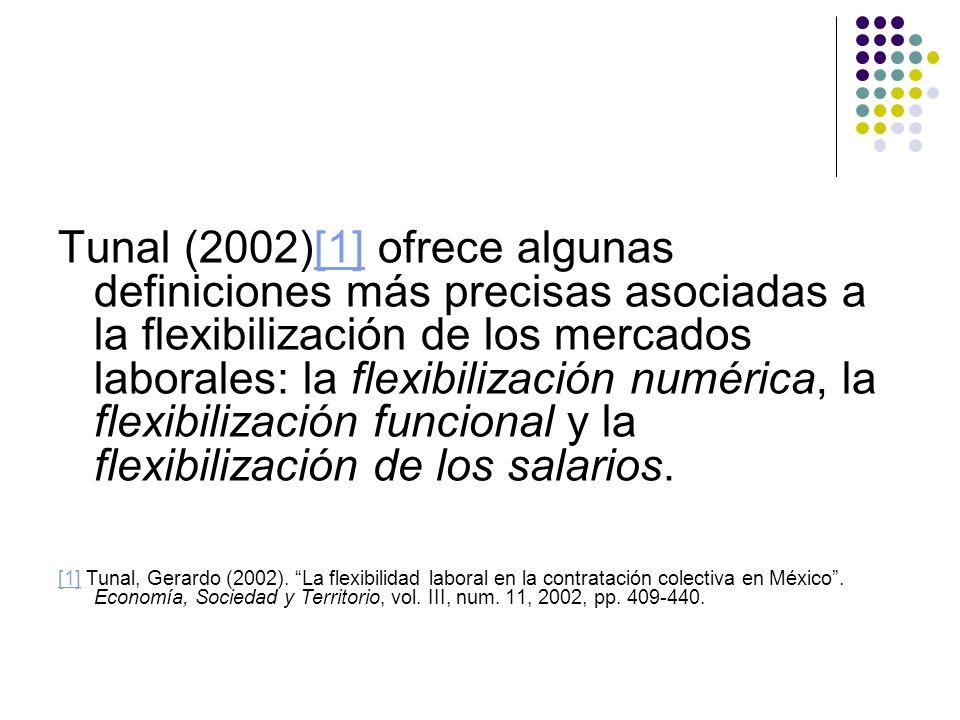 Tunal (2002)[1] ofrece algunas definiciones más precisas asociadas a la flexibilización de los mercados laborales: la flexibilización numérica, la flexibilización funcional y la flexibilización de los salarios.